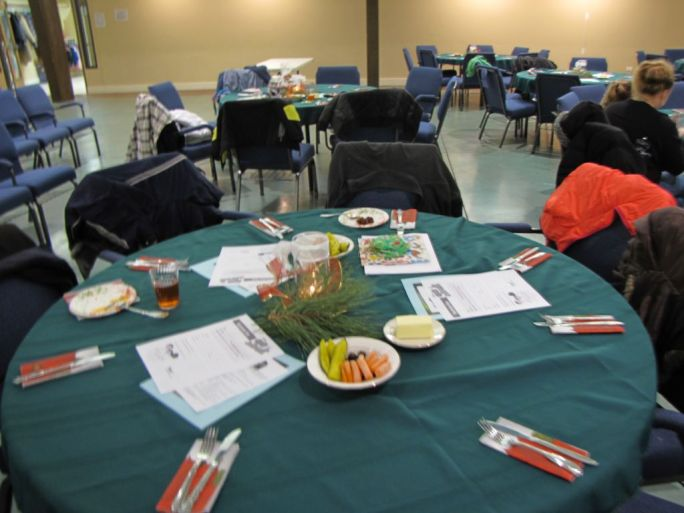 Tables set up for the Whiz Kid families!