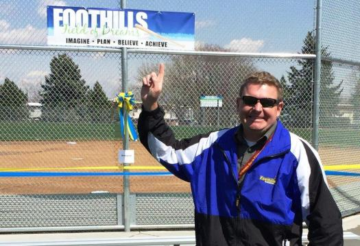 PE coach George who is fired up at the Ribbon Cutting 4/3/2015
